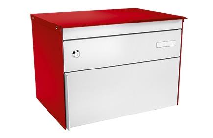 Stebler Briefkasten s:box 13, RAL 3000 Feuerrot/Weissaluminium