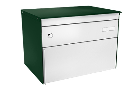 Stebler Briefkasten s:box 13, RAL 6005 Moosgrün/Weissaluminium