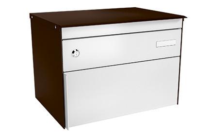 Stebler Briefkasten s:box 13, RAL 8017 Schokoladenbraun/Weissaluminium