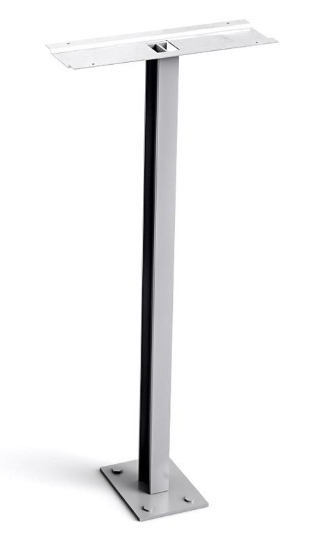 Stebler Einzelstütze mit Fussplatte (Montage auf Betonfundament) Weissaluminium