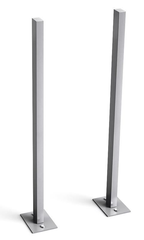 Stebler Seitliches Stützenpaar mit Fussplatten (Montage auf Betonfundament), Weissaluminium