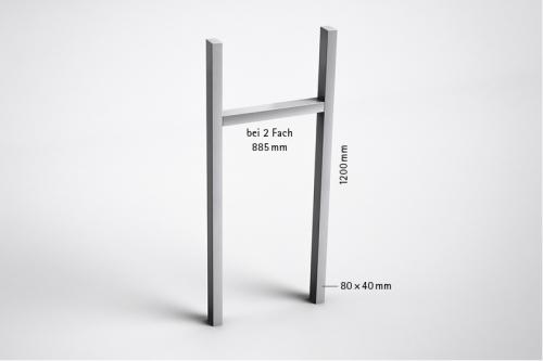 Stebler U-Stützen zum Einbetonieren 2-Fach, Weissaluminium