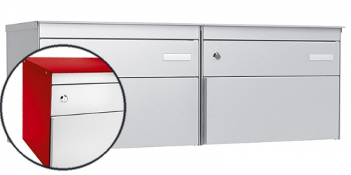 Stebler 2-er Briefkastengruppe s:box 13, Post-Norm, 2x1, Feuerrot/Weissaluminium