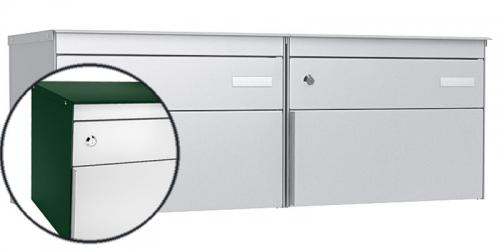 Stebler 2-er Briefkastengruppe s:box 13, Post-Norm, 2x1, Moosgrün/Weissaluminium