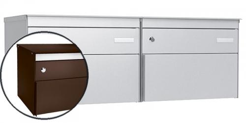 Stebler 2-er Briefkastengruppe s:box 13, Post-Norm, 2x1, Schokoladebraun