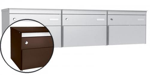 Stebler 3-er Briefkastengruppe s:box 13, Post-Norm, Gehäuse und Front RAL 8017 Schokoladenbraun