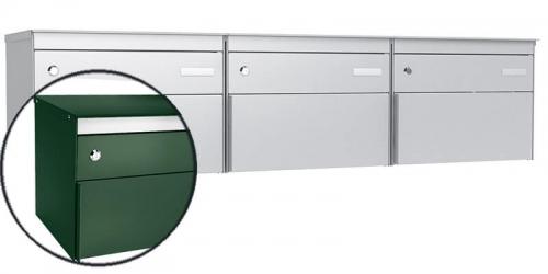 Stebler 3-er Briefkastengruppe s:box 13, Post-Norm, Gehäuse und Front RAL 6005 Moosgrün