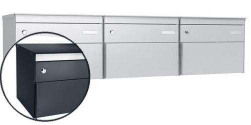 Stebler 3-er Briefkastengruppe s:box 13, Post-Norm, Gehäuse und Front RAL 7016 Anthrazitgrau