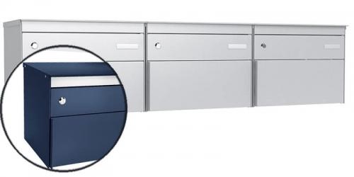 Stebler 3-er Briefkastengruppe s:box 13, Post-Norm, Gehäuse und Front RAL 5003 Saphirblau