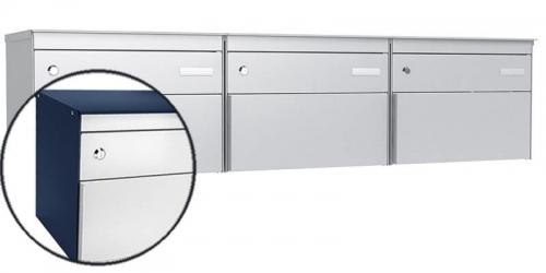 Stebler 3-er Briefkastengruppe s:box 13, Post-Norm, Gehäuse RAL 5003 Saphirblau, Front RAL 9006 Weissaluminium
