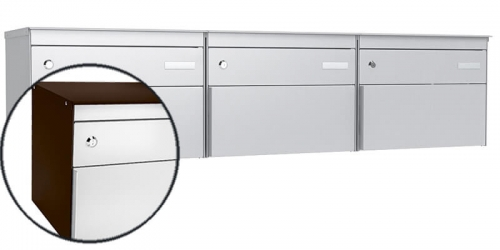 Stebler 3-er Briefkastengruppe s:box 13, Post-Norm, Gehäuse RAL 8017 Schokoladenbraun, Front RAL 9006 Weissaluminium