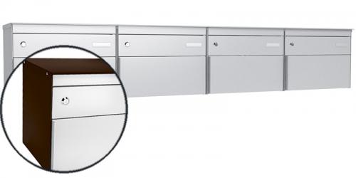 Stebler 4-er Briefkastengruppe s:box 13, Post-Norm, Gehäuse RAL 8017 Schokoladenbraun, Front 9006 Weissaluminium