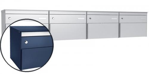 Stebler 4-er Briefkastengruppe s:box 13, Post-Norm, Gehäuse und Front  RAL 5003 Saphirblau