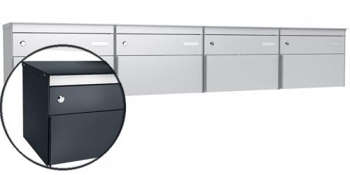 Stebler 4-er Briefkastengruppe s:box 13, Post-Norm, Gehäuse und Front RAL 7016 Anthrazitgrau