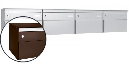 Stebler 4-er Briefkastengruppe s:box 13, Post-Norm, Gehäuse und Front RAL 8017 Schokoladenbraun