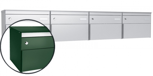 Stebler 4-er Briefkastengruppe s:box 13, Post-Norm, Gehäuse und Front RAL 6005 Moosgrün