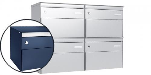 Stebler 4-er Briefkastengruppe 2x2 s:box 13, Post-Norm, Gehäuse und Front  RAL 5003 Saphirblau