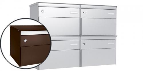Stebler 4-er Briefkastengruppe 2x2 s:box 13, Post-Norm, Gehäuse und Front RAL 8017 Schokoladenbraun