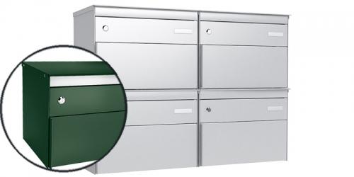 Stebler 4-er Briefkastengruppe 2x2 s:box 13, Post-Norm, Gehäuse und Front RAL 6005 Moosgrün