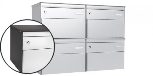 Stebler 4-er Briefkastengruppe 2x2 s:box 13, Post-Norm, Gehäuse RAL 5003 Saphirblau, Front RAL 9006 Weissaluminium