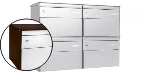 Stebler 4-er Briefkastengruppe 2x2 s:box 13, Post-Norm, Gehäuse RAL 8017 Schokoladenbraun, Front RAL 9006 Weissaluminium