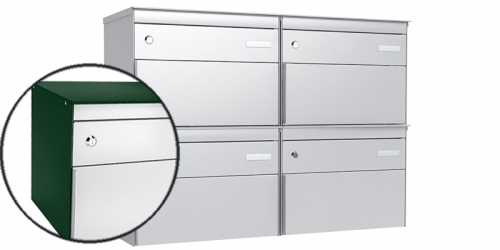 Stebler 4-er Briefkastengruppe 2x2 s:box 13, Post-Norm, RAL 6005 Moosgrün, Front RAL 9006 Weissaluminium