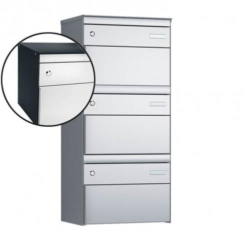Stebler 3-er Briefkastengruppe, s:box 13, Post-Norm, 1x3, Anthrazit/Weissaluminium