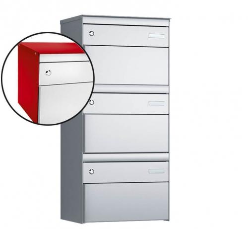Stebler 3-er Briefkastengruppe, s:box 13, Post-Norm, 1x3, Feuerrot/Weissaluminium