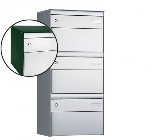 Stebler 3-er Briefkastengruppe, s:box 13, Post-Norm, 1x3, Moosgrün/Weissaluminium