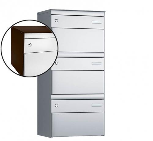 Stebler 3-er Briefkastengruppe, s:box 13, Post-Norm, 1x3, Schokoladenbraun/Weissaluminium