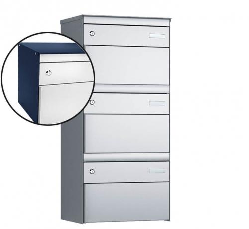 Stebler 3-er Briefkastengruppe, s:box 13, Post-Norm, 1x3, Saphirblau/Weissaluminium