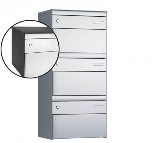 Stebler 3-er Briefkastengruppe, s:box 13, Post-Norm, 1x3, Patina/Weissaluminium