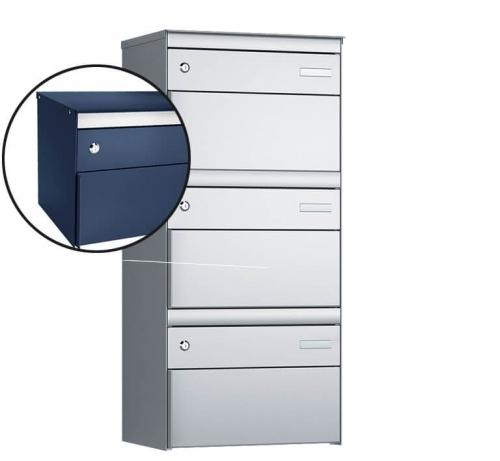 Stebler 3-er Briefkastengruppe, s:box 13, Post-Norm, 1x3, Saphirblau