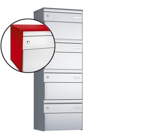 Stebler 4-er Briefkastengruppe, s:box 13, Post-Norm, 1x4, Feuerrot/Weissaluminium