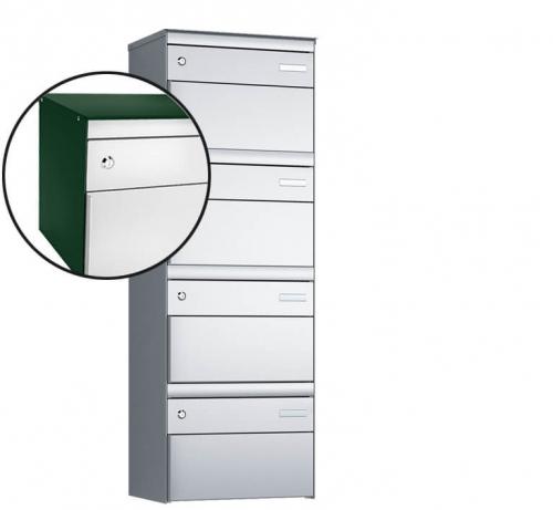 Stebler 4-er Briefkastengruppe, s:box 13, Post-Norm, 1x4, Moosgrün/Weissaluminium