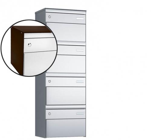 Stebler 4-er Briefkastengruppe, s:box 13, Post-Norm, 1x4, Schokoladenbraun/Weissaluminium