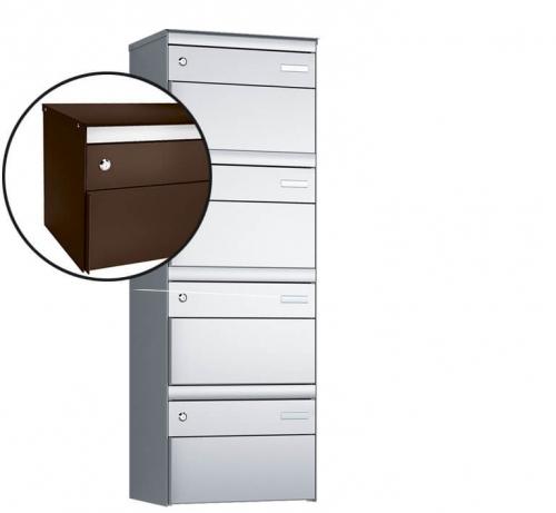 Stebler 4-er Briefkastengruppe, s:box 13, Post-Norm, 1x4, Schokoladenbraun