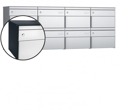 Stebler 8-er Briefkastengruppe, s:box 13, Post-Norm, 4x2, Anthrazit/Weissaluminium
