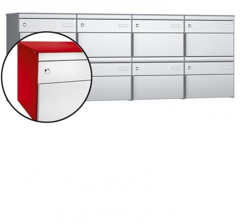 Stebler 8-er Briefkastengruppe, s:box 13, Post-Norm, 4x2, Feuerrot/Weissaluminium