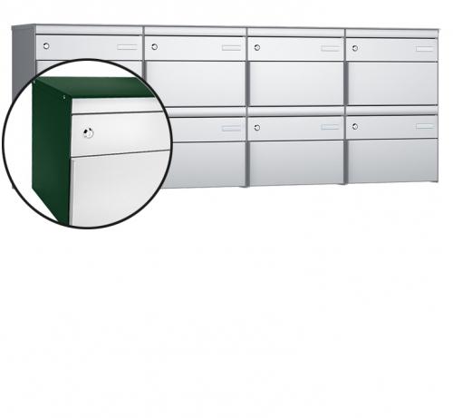 Stebler 8-er Briefkastengruppe, s:box 13, Post-Norm, 4x2, Moosgrün/Weissaluminium