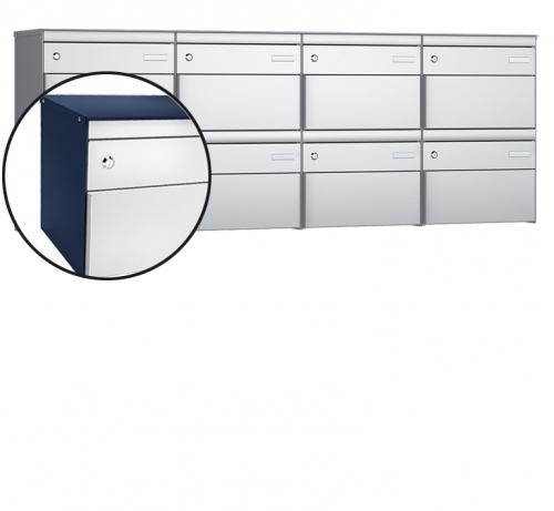 Stebler 8-er Briefkastengruppe, s:box 13, Post-Norm, 4x2, Saphirblau/Weissaluminium