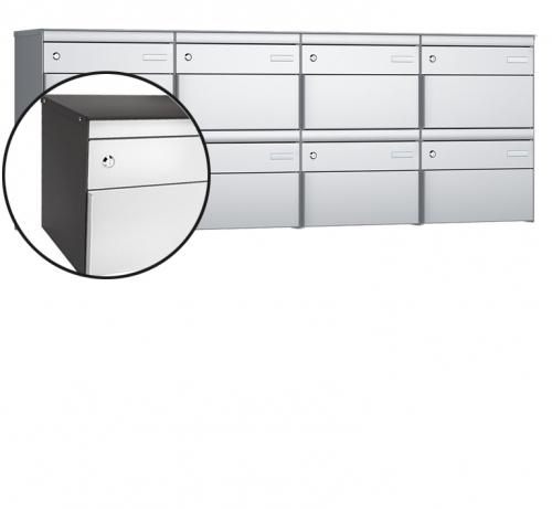 Stebler 8-er Briefkastengruppe, s:box 13, Post-Norm, 4x2, Patina/Weissaluminium