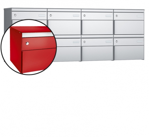 Stebler 8-er Briefkastengruppe, s:box 13, Post-Norm, 4x2, Feuerrot