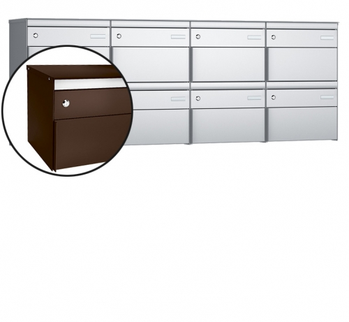 Stebler 8-er Briefkastengruppe, s:box 13, Post-Norm, 4x2, Schokoladenbraun