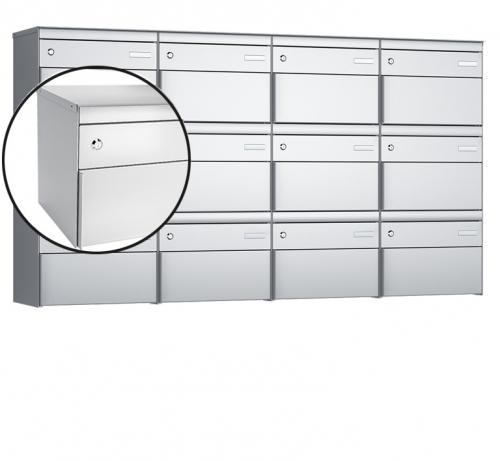 Stebler 12-er Briefkastengruppe, s:box 13, Post-Norm, 4x3, Weissaluminium