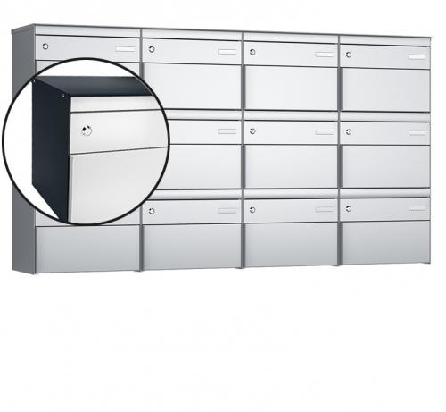 Stebler 12-er Briefkastengruppe, s:box 13, Post-Norm, 4x3, Anthrazit/Weissaluminium