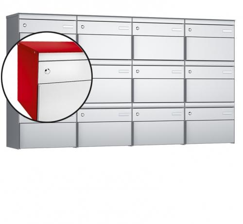 Stebler 12-er Briefkastengruppe, s:box 13, Post-Norm, 4x3, Feuerrot/Weissaluminium
