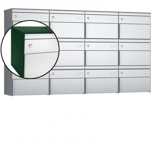 Stebler 12-er Briefkastengruppe, s:box 13, Post-Norm, 4x3, Moosgrün/Weissaluminium