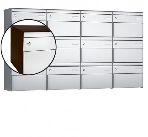 Stebler 12-er Briefkastengruppe, s:box 13, Post-Norm, 4x3, Schokoladenbraun/Weissaluminium