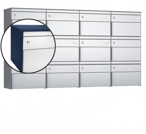 Stebler 12-er Briefkastengruppe, s:box 13, Post-Norm, 4x3, Saphirblau/Weissaluminium